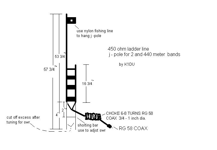 Slim Jim j pole 2 meter 440 antenna 16ft coax NEW range extended  version